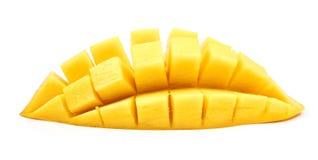 mango slice cut to cubes close up isolated Stock Photos