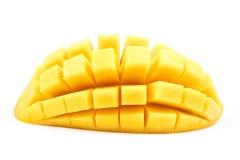 mango slice cut to cubes close up isolated Royalty Free Stock Image