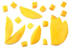 Mango slice isolated on white background. healthy food. top view royalty free stock photography