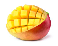 Mango sliced to cubes isolated Stock Photography