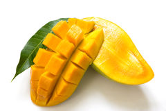 Mango slices isolated on white background Royalty Free Stock Photos
