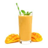 Mango smoothie in a glass isolated on white. Healthy mango smoothie in a glass with mint and straw isolated on white Royalty Free Stock Images