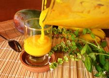 Mango Smoothie Healthy Fresh Drink On A Glass. Royalty Free Stock Photo