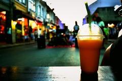 Mango smoothie on sideway Stock Images
