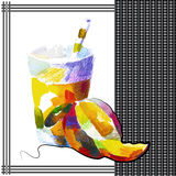 Mango. Smoothie in watercolor style Royalty Free Stock Photos