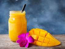 Mango smoothies. In glass in summer season royalty free stock photos