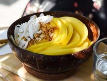 Mango Smoothieschüssel Frisches Frühstück lizenzfreie stockfotos