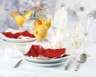 Mango sorbet for Christmas. Mango and pineapple sorbet or ice cream for Christmas Stock Photos