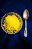 Mango sorbet closeup Stock Photo
