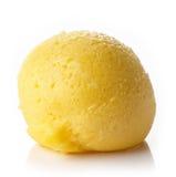 Mango sorbet. Fresh mango ice cream sorbet ball isolated on white background stock photography
