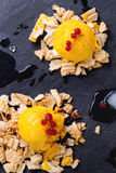 Mango sorbet. Ice cream, served on wafer crumbs with red currant berries and ice cubes over black slate. Top view stock images