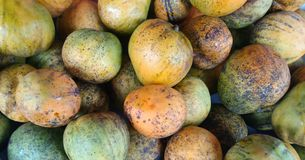A mango stand in a fair. Mango is a tipical fruit in tropical contries, like a Brazil, South Afric an any countries in Asia Royalty Free Stock Image