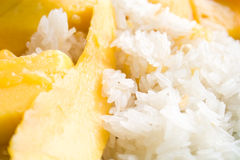Mango sticky rice. Coconut sticky rice with ripe mango Royalty Free Stock Photography