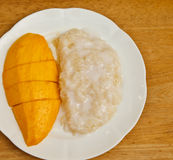 Mango sticky rice. In Thailand Royalty Free Stock Photography