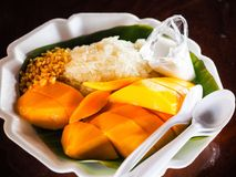 Mango and sticky rice. With coconut milk are most popular dessert in Thailand summer Stock Images