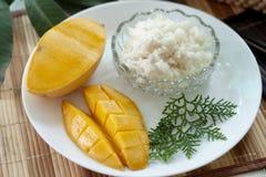 Mango with sticky rice with coconut milk. stock photo
