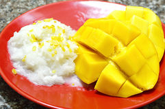 Mango with sticky rice. And coconut milk, Thai traditinal dessert Royalty Free Stock Photography