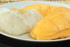 Mango and sticky rice cooked with coconut milk Royalty Free Stock Photos