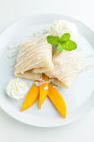 Mango Sticky Rice Crepes Stock Images