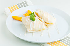 Mango Sticky Rice Crepes Stock Photos