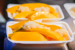 Mango with sticky rice and fresh fruit juice are the popular str Royalty Free Stock Images