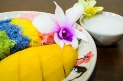 Mango with sticky rice. Fresh mango with many coloured sticky rice Stock Photography