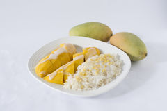 Mango with Sticky Rice. And 2 mango fruits on white royalty free stock photography