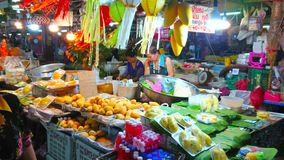 Mango sticky rice ingredients in stall, Gate Market, Chiang Mai, Thailand