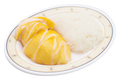 Mango with sticky rice. Isolated stock image