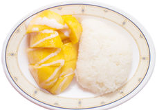 Mango with sticky rice. Isolated royalty free stock photography