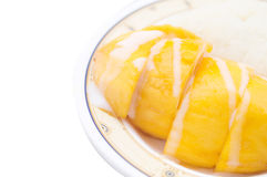 Mango with sticky rice. Isolated stock images