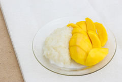 Mango with Sticky Rice. Some Mango with Sticky Rice royalty free stock photography