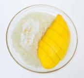 Mango with sticky rice, Thai style dessert Stock Photo