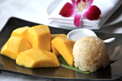 Mango Sticky Rice,Thailand. Thai sweet sticky rice with mango,this is very simple but tropical dessert.Bangkok.Thailand Stock Photo