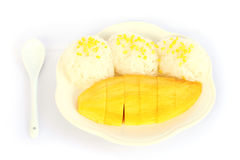 Mango with sticky rice. On white background Royalty Free Stock Photo