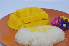 Mango with sticky rice. Yummy Thai dessert Stock Photos