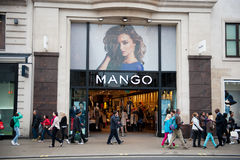 Mango store in London, UK. LONDON-MAY 21, 2013. Mango store in London on May 21, 2013. Mango is an international clothing design retail chain with 10,000 Royalty Free Stock Photography