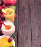 Mango and strawberry lassi Stock Images