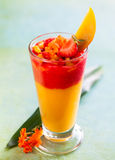 Mango and strawberry smoothie Stock Photo