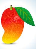Mango sugoso rosso con il foglio Fotografia Stock