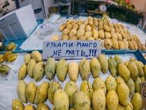 Mango sull'alimento del mercato, tropicale, fresco, dolce, giallo, natura, organico, maturo, variopinto, verde, deliziosa, dieta fotografia stock libera da diritti