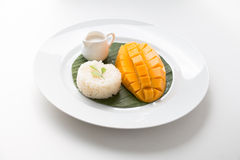 Mango with Sweet Sticky Rice. Thai style tropical desert Royalty Free Stock Photo