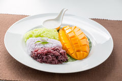 Mango with Sweet Sticky Rice. Thai style tropical desert Stock Photography