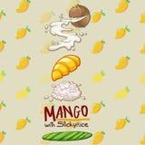 Mango tailandés del postre con arroz pegajoso ilustración del vector