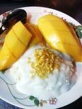 Mango tailandés y arroz stiky con leche de coco Fotos de archivo