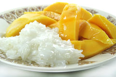 Mango tailandese con riso appiccicoso Fotografia Stock