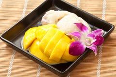 Mango tailandese del dessert con riso appiccicoso Immagine Stock