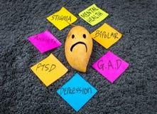 Mango triste di Post-it di consapevolezza di salute mentale immagine stock libera da diritti