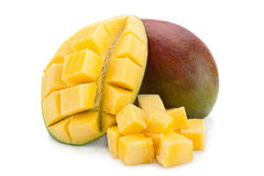 Mango tropical fruit 0n white Royalty Free Stock Image