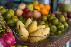 Mango and tropical fruit. Traditional street Fruit market Stock Photography